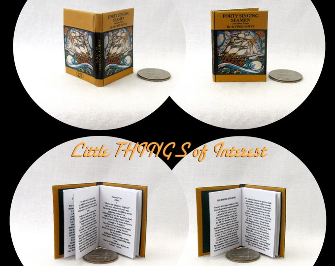 FORTY SINGING SEAMEN Poetry Book Miniature Book 1:6 Scale Readable Doll Book