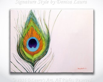 ORIGINAL Oil Painting - Peacock Feather on White Gallery Palette Knife Fine Art by Denisa Laura Ready to Hang 16x12
