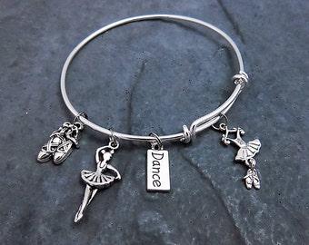 Dance Bracelet - Charm Bracelet - Gift For Dancer - Dance Teacher Gift - Expandable Bangle - Dancing - Dancer Jewelry - Ballet Shoe Charm