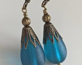 Teal Glass Earrings  Bohemian Earrings  Glass Teardrops  Boho Earrings  Matte Glass Earrings  Gypsy Dangles