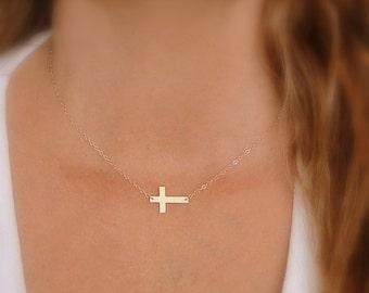 Side Cross, 14K Gold Cross Necklace, Gold Sideways Cross Pendant, Horizontal Cross, Simple Christian Religious Present, First Communion Gift