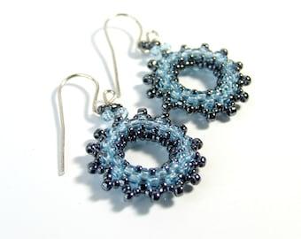 Light Blue Earrings Blue Glass Earrings, Unique Earrings Handmade Gifts, Beaded Jewelry Sterling Silver, Boho Jewelry Seed Bead Earrings