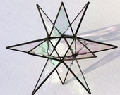 Stained Glass, Iridescent Clear Glass Hanging Star Suncatcher, Modern Christmas Star Ornament, Moravian Star, X'mas Decoration, Gift