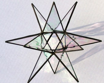 Stained Glass Tree Topper, Iridescent Clear Glass, Moravian Star, Tree Top Decoration, Christmas Star Ornament, 12 Point Star for X'mas Tree