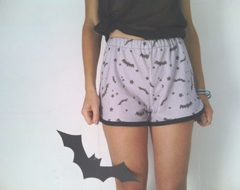 Bats and Stars Shorts, Grey Cotton Short Pants, Women's Summer Hot Pants, Cotton Printed Shorts, Made to Order