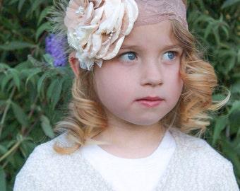Cream Baby  headband, Couture headband , Baby headband, Vintage headband , Girl headband