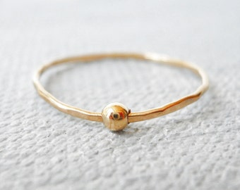 14k gold filled dainty teeny tiny stacking ring with a floating bead
