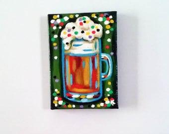 Party Beer, Magnet, Original Painting, Beer Art, Beer Painting, Kitchen Art, Food Magnet, Painted Magnet, Beer Painting
