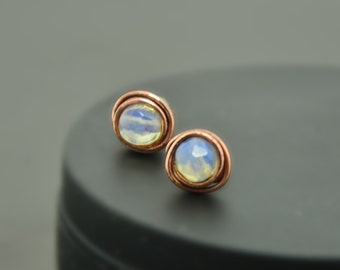 moonstone studs moonstone earrings post earrings stud earrings copper stone earrings gemstone earrings moonstone jewelry gift for women