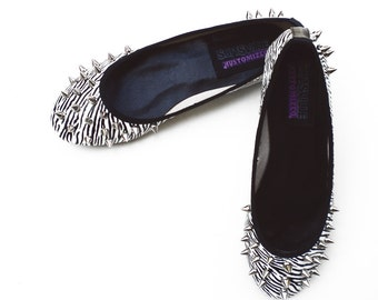 Zebra flats black white animalier ballerina shoes studs and spikes punk rock glam metal streetwear Limited Edition