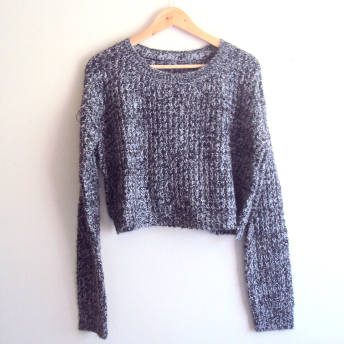Knitting Pattern Boyfriend Jumper : SALE Knit Boyfriend Sweater Knit Crop Sweater Heather Black