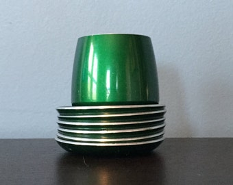 Vintage Emalox Norway Butter Dish / Bowl & 6 Small Butter Plates Emerald Green Enamel