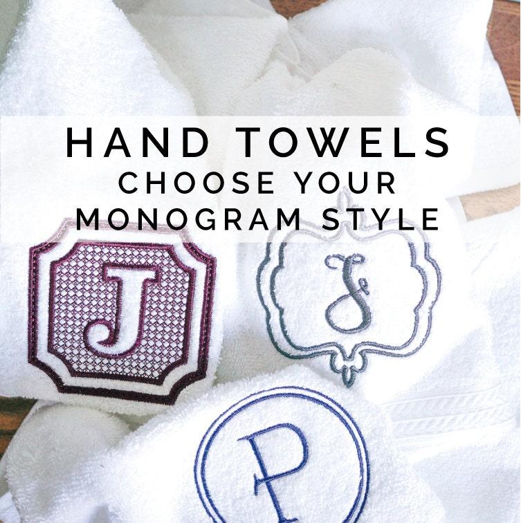 Monogrammed Hand Towels Set Of 2 Single Letter Monogram