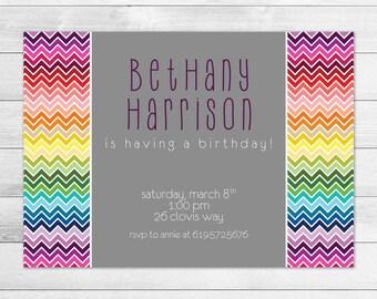 Chevron Rainbow Birthday Invitation