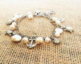 Clam Shell Bracelet Freshwater Pearl Bracelet Clam Bracelet Beach Jewelry Nautical Nautical Jewelry (Lead and Nickel Free)