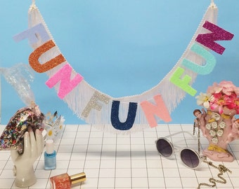 Fun Fun Fun Fringe Banner | party banner, kids wall decor, decor banner, birthday party banner, fringe wall hanging, glitter letter banner
