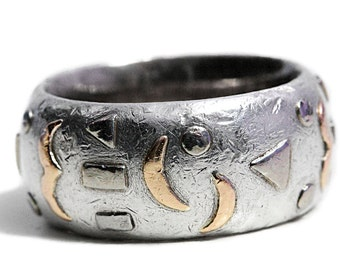 Titanium Artisan Ring Sun Moon and Stars Rose Gold with Silver