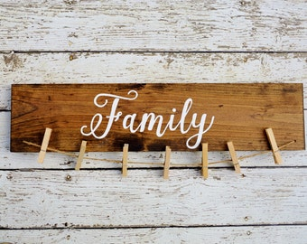 Family sign picture holder, family picture frame, grandparents picture frame, rustic home decor, (S101)