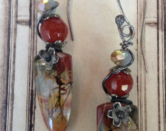 SALE- 15.00 off -Boho Earrings,Hand Forged Sterling Ear Wires, Gorgeous Sterling Wrapped Faceted Carnelian with Cherry Creek Jasper Shields