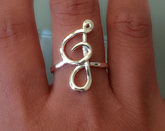 Initial ring, Sterling silver initial ring, Letter ring