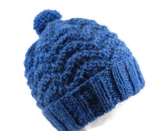 Blue Baby Hat - Hand Knit Pom Pom Beanie For Infants 6 to 12 Months - Warm Soft Acrylic Bobble Cap - Child's Toboggan - Cozy Toque