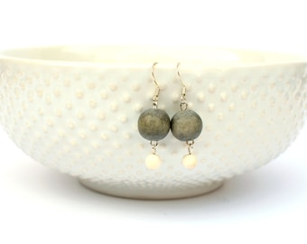 grey earrings / gray earrings / grey and white bead earrings / modern earrings / simple earrings / wood bead earrings
