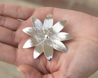 Flower brooch, sterling silver broach pin, flower pin, statement brooch pin, flower broach, gift for women,  greek jewelry