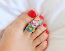 ONE Raw Stone Toe Ring,  Druzy Toe Ring,  Sterling Silver Toe Ring , Minimal Modern Jewelry, Minimal, Multistone Rings, Gemstone Ring