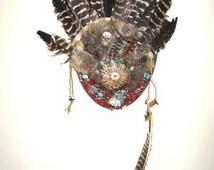 Native American Turkey Feather Fur  Plaque Headdress