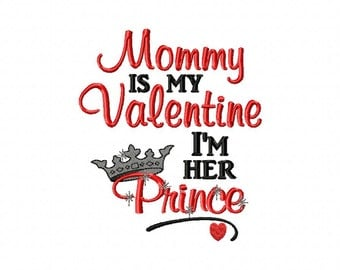 Mommy is my Valentine I'm Her Prince with Crown Mommy's Boy Embroidered Valentine's Day Baby Toddler Kids Shirt or Bodysuit, Boy Valentine