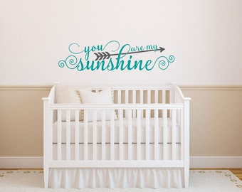 You Are My Sunshine Wall Decal, Nursery Wall Decal, Arrow Wall Decal, Nursery Decor, Nursery Wall Decor, Kids Wall Art Nursery Wall Quote