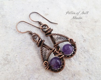 Wire wrapped earrings / purple Amethyst / wire wrapped jewelry handmade / woven wire jewelry / earthy antiqued copper jewelry