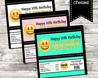 Emoji Birthday Party Candy Wrapper Digital Printable