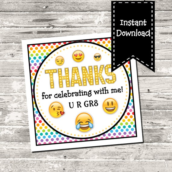 INSTANT DOWNLOAD Emoji Birthday Party Rainbow Square Favor Tag Digital ...