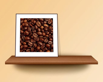 Minimalistic Art, Coffee Wall Art, Minimalist Art Print, Chocolate Brown Wall Art, Coffee Beans Photo Print, Square Print