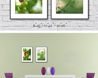Kitchen Wall Art Prints, Farmhouse Kitchen Decor, Country Kitchen Wall Decor, Set of 2 Prints, Summer Green Kitchen Art Prints