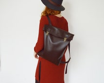 Leather Backpack, Leather rucksack, Women, Tote, Bag, Brown, Laptop, Laptop bag, Minimalist, Casual bag, Macbook backpack, Office backpack