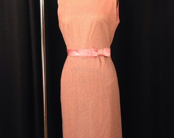 SALE! Vintage 1950's 1960's Pink Hourglass Chromespun Lurex Wiggle Dress Size M