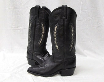 Vintage Dan Post Ladies 6M Tall Black w/Reptile Inlay Cowgirl Western Boots