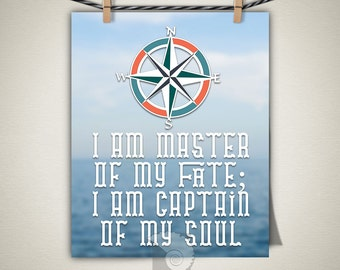 Master of my Fate, wall art print, inspirational quote, Captain of my Soul, nautical poster, wall art, nautical decor, compass rose