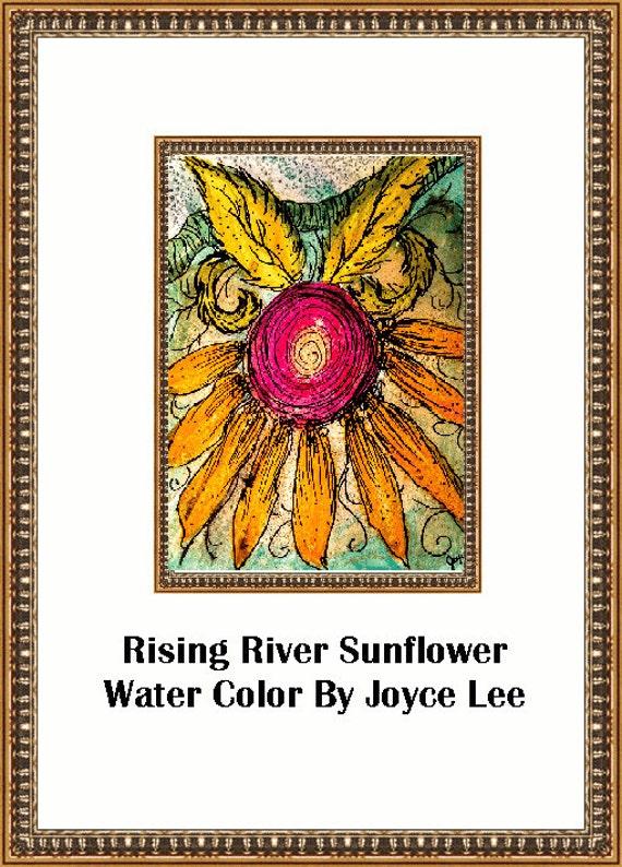 Rising River Sunflower  Southwestern Art Print