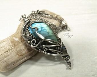 Labradorite Fine Silver Pendant, Labradorite 925 Silver Necklace