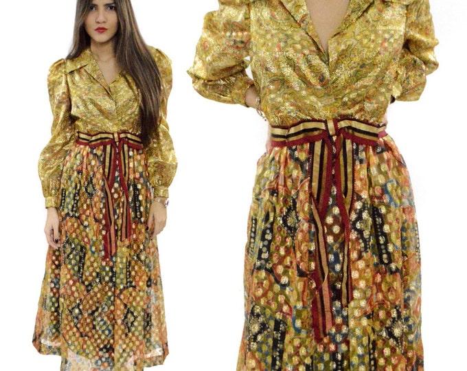 Vintage 70s Morton Myles for Michael Charles Maxi Ethnic-Style Lamé Baroque Bohemian Glamorous Hippie Dress
