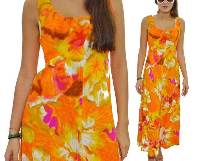 Vintage 60s Kimo's Polynesian Shop Hawaiian Maxi Floral Dress