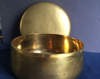 Vintage Asian Turned Brass Bowl with lid