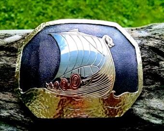 Viking Ship Buckle, Viking Belt Buckle, Dragon Belt Buckle, Viking Jewelry, Dragon Jewelry, Mens Mixed Metal, Nordic Jewelry, Piraten