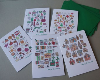 Christmas Card Set - 10 cards, 5 different designs