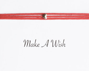 Make A Wish Tiny Heart Bracelet - Bohemian Jewellery, Friendship Bracelet, Boho Style, Love Charm
