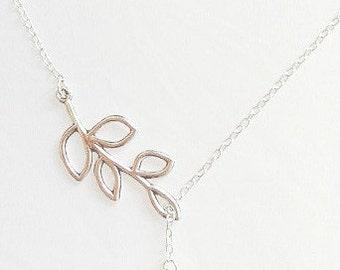 bird necklace silver branch swallow