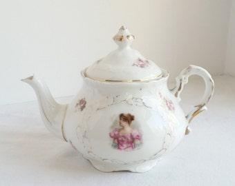 Antique Teapot, Portrait Teapot, Bavarian Porcelain, Moschendorf Bavaria, 1895 Teapot, Collectible China, Madame Sans Gene, Painted Teapot
